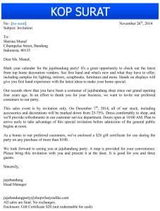 Surat Bisnis Bahasa Inggris Ikmalluthfi